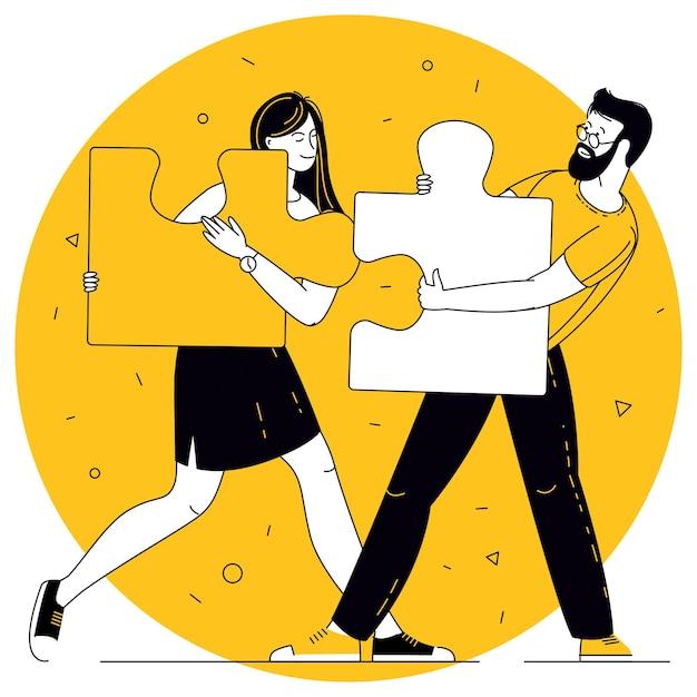 Concetto di affari di vettore di design piatto persone che collegano elementi di puzzle