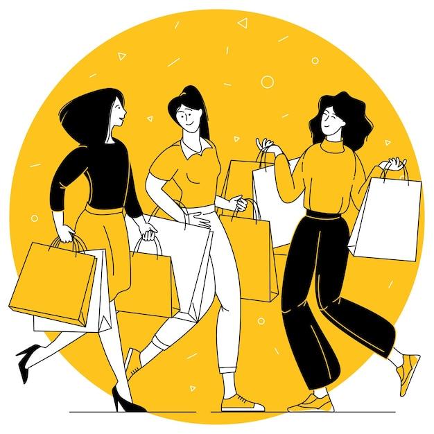 Concetto di vettore di design piatto di giovani donne felici che si divertono con lo shopping.