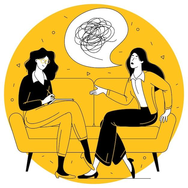 Concetto di vettore di design piatto per sessione di psicoterapia paziente con ufficio psicologo psicoterapeuta