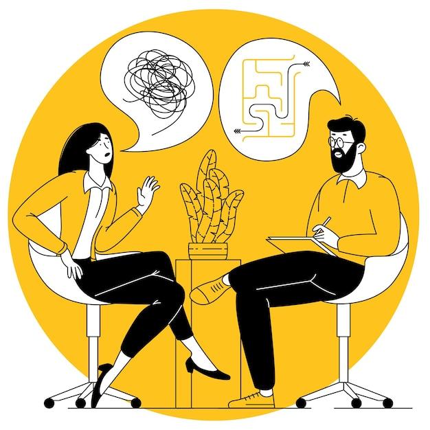 Concetto di vettore di design piatto per sessione di psicoterapia paziente con psicologo
