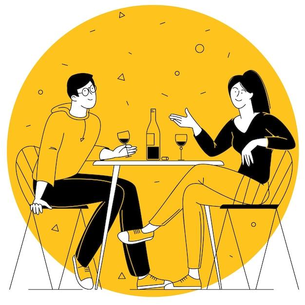 Illustrazione vettoriale di design piatto di appuntamento romantico uomo e donna nel ristorante che bevono vino