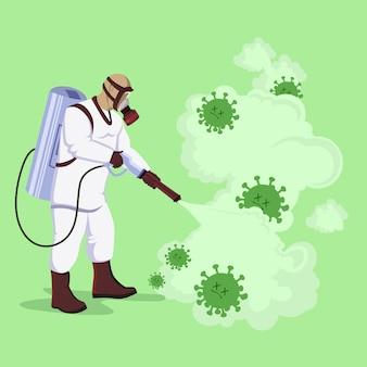 Design piatto, concetto di disinfezione da virus