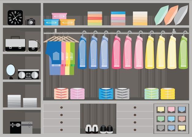 Cabina armadio di design piatto con ripiani