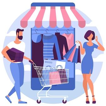 Modello di pagina web design piatto per lo shopping online
