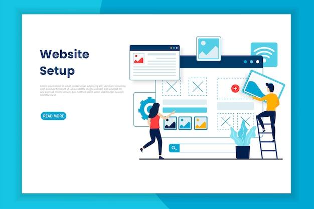 Pagina web dell'illustrazione di messa a punto del sito web di progettazione piana