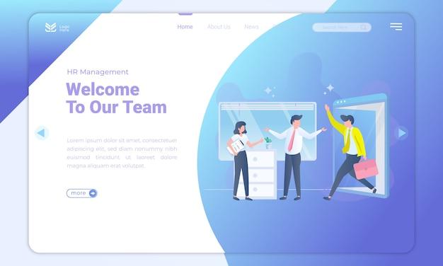 Design piatto benvenuto nel nostro team sulla landing page