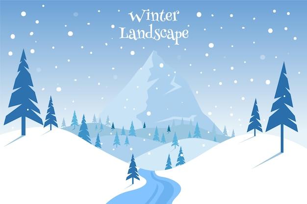 Concetto di paesaggio invernale design piatto Vettore Premium