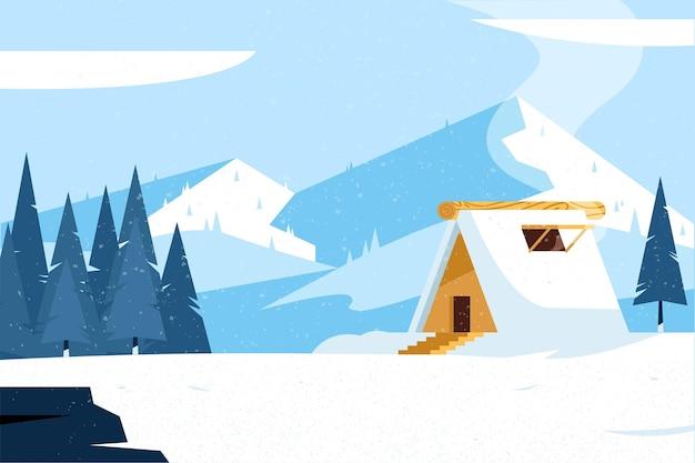 Paesaggio invernale design piatto con casa