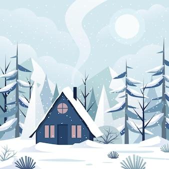 Paesaggio invernale design piatto