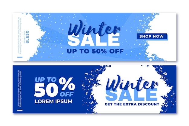 Modello di banner di vendita invernale design piatto