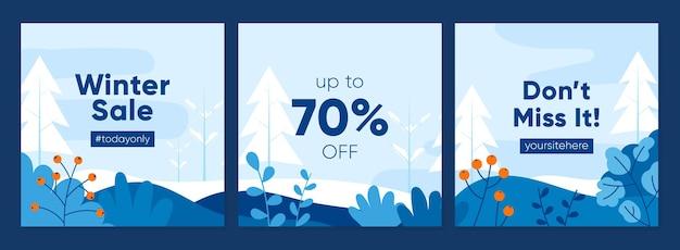 Set di banner quadrati per la promozione dei saldi invernali di design piatto per post sui social media e modello di feed