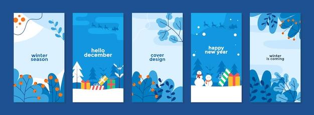 Set di banner per la storia della promozione dei saldi invernali dal design piatto per la pubblicità dei post sui social media