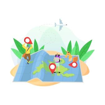 Design piatto con mappa di lettura turistica e luoghi famosi