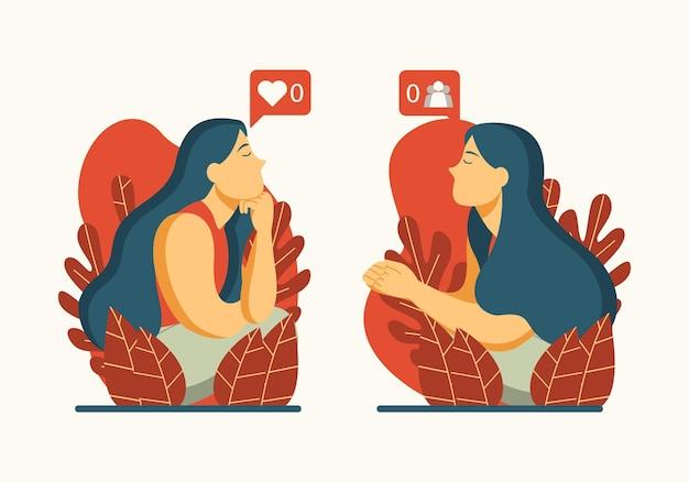 La donna di design piatto contempla l'illustrazione dei social media