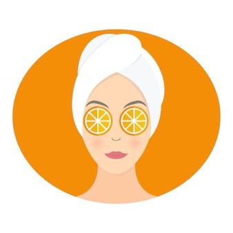 Design piatto di una donna con la maschera di arancia sugli occhi.