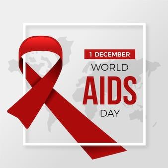 Nastro e testo di design piatto giornata mondiale contro l'aids con data