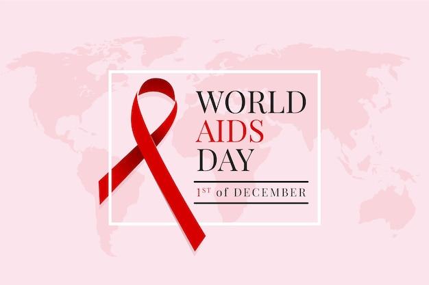 Giornata mondiale contro l'aids design piatto con mappa e nastro rosso