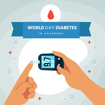 Consapevolezza della giornata mondiale del diabete di design piatto