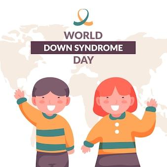 Giornata mondiale della sindrome di down design piatto