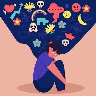 Design piatto giornata mondiale della salute mentale concetto
