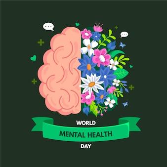 Evento della giornata mondiale della salute mentale di design piatto