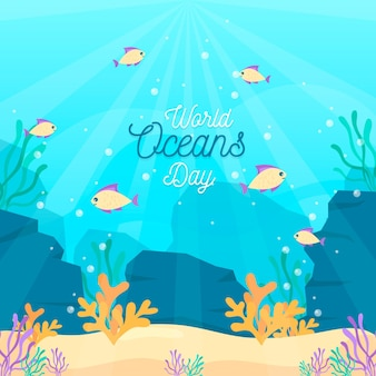 Giornata mondiale degli oceani design piatto