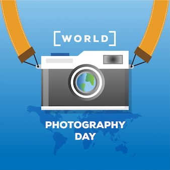 Insegna piana di concetto di giorno di fotografia del mondo di progettazione con la mappa di mondo e l'illustrazione d'annata della macchina fotografica