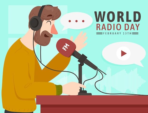 Trasmissione della giornata radiofonica mondiale di design piatto