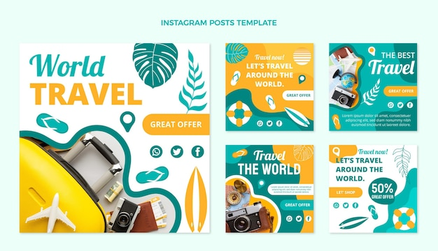 Post di instagram di viaggio del mondo di design piatto