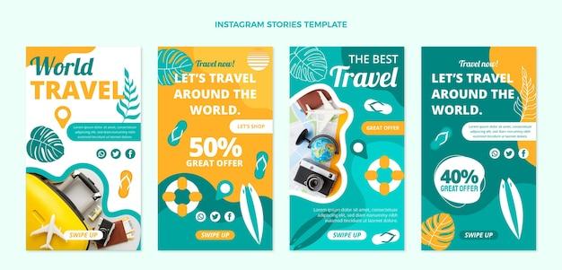 Storie di instagram di viaggio nel mondo dal design piatto