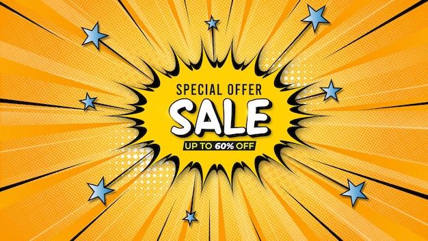 Vendita di sfondo in stile fumetto giallo e blu design piatto con dettagli dell'offerta vettore gratuito