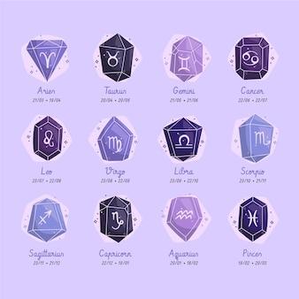 Collezione di segni zodiacali dal design piatto