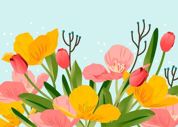 Sfondo primavera dettagliata piatto
