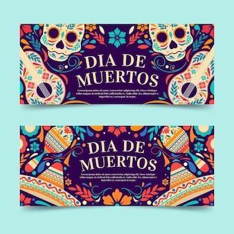 Set di banner orizzontali piatti dia de muertos
