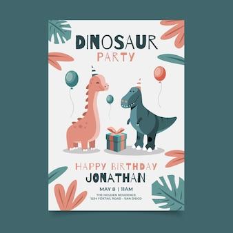 Invito di compleanno di dinosauro piatto