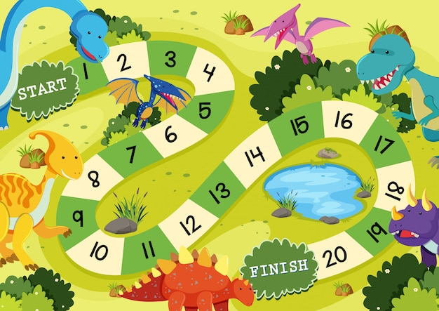 Modello di gioco da tavolo dinosauro piatto