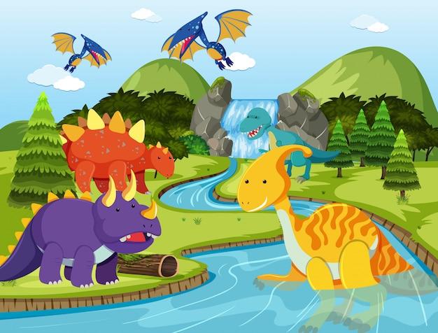 Dinosauro piatto in natura