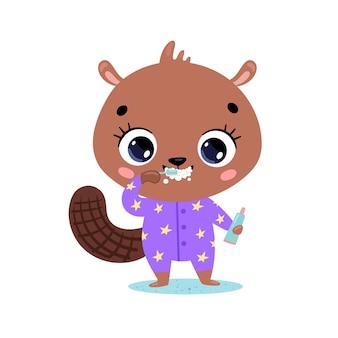 Piatto scarabocchio simpatico cartone animato bambino castoro lavarsi i denti. gli animali si lavano i denti.