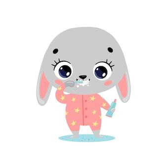 Piatto doodle simpatico cartone animato coniglietto lavarsi i denti. gli animali si lavano i denti.