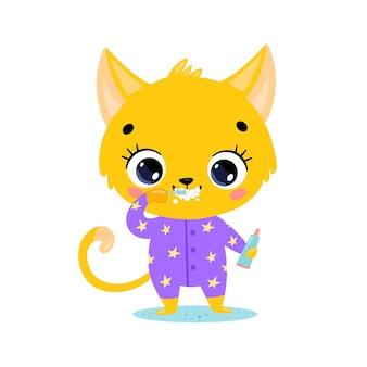 Piatto doodle simpatico cartone animato baby cat lavarsi i denti. gli animali si lavano i denti.