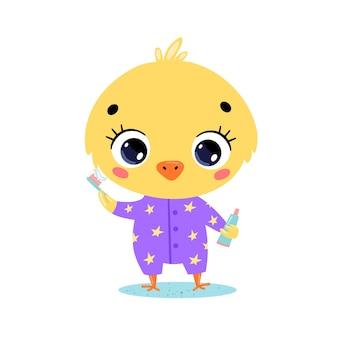Piatto doodle simpatico cartone animato baby pollo lavarsi i denti. gli animali si lavano i denti.