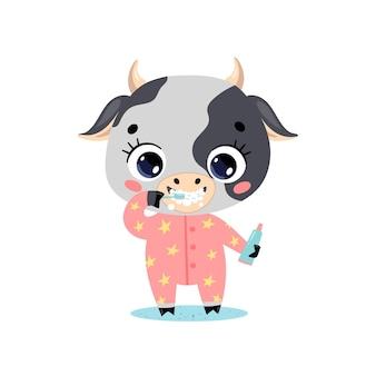 Piatto doodle simpatico cartone animato baby mucca lavarsi i denti. gli animali si lavano i denti.