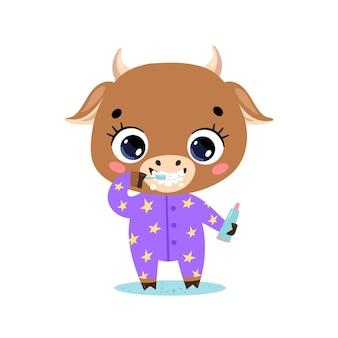 Piatto doodle simpatico cartone animato baby mucca bull lavarsi i denti. gli animali si lavano i denti.