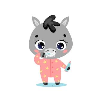 Piatto doodle simpatico cartone animato bambino asino lavarsi i denti. gli animali si lavano i denti.