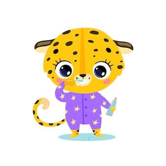 Piatto doodle simpatico cartone animato baby leopard lavarsi i denti. gli animali si lavano i denti.