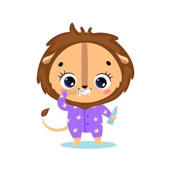 Piatto doodle simpatico cartone animato leone del bambino lavarsi i denti. gli animali si lavano i denti.