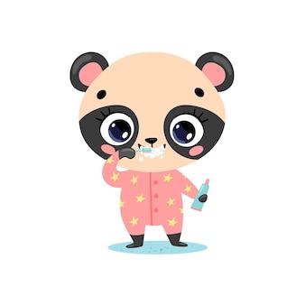 Piatto doodle simpatico cartone animato orso panda bambino lavarsi i denti. gli animali si lavano i denti.