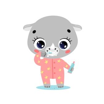 Piatto doodle simpatico cartone animato baby rinoceronte lavarsi i denti. gli animali si lavano i denti.