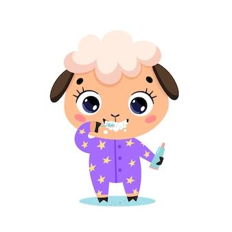 Piatto scarabocchio simpatico cartone animato pecorella lavarsi i denti. gli animali si lavano i denti.