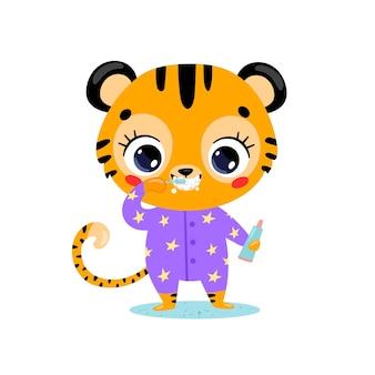 Piatto doodle simpatico cartone animato baby tiger lavarsi i denti. gli animali si lavano i denti.
